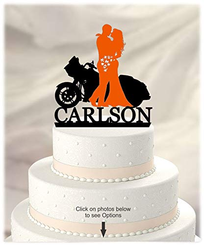Harley Davidson Motorcycle, Bride and Groom, Personalized with Name, Acrylic [CT125wg] ()