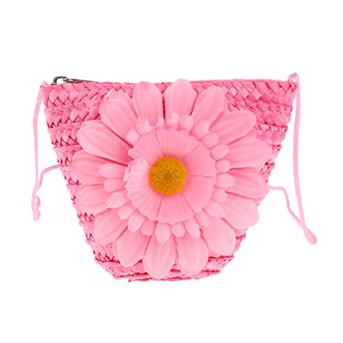 Bag Casual described Straw Body Pink Mini Change Girl Handbags Sunflower Cross Women White as Homyl Hqfvq