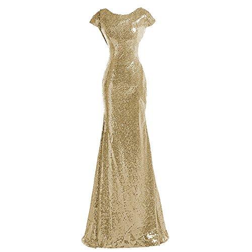 Sparkle Gold Sequind Bridesmaid Dresses Modest Long Prom Evening ()