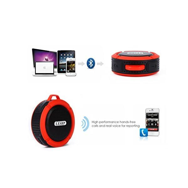 Haut-parleur Bluetooth leshp sans fil stéréo portable Musique Box (Basses puissantes, audio haute définition, IP66anti-éclaboussures, connexion USB pour portable à charges de plein air) 3