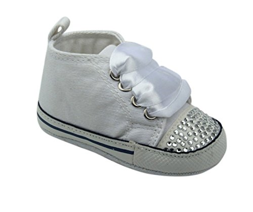 Unique Baby Baby-Girl Canvas Sneaker with Rhinestones (12-18 month, White)