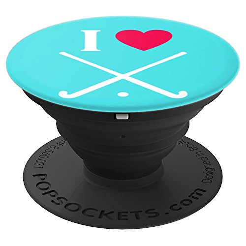 Field Hockey Player Sticks Gift - I Love - Aqua - PopSockets Grip and Stand for Phones and Tablets