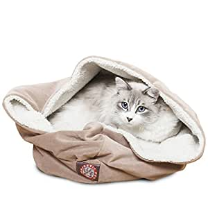 Amazon.com : 17 inch Stone Suede Burrow Cat Bed : Pet Supplies