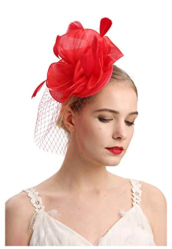 Cizoe Flower Cocktail Tea Party Headwear Feather Fascinators Top Hat for Girls and -