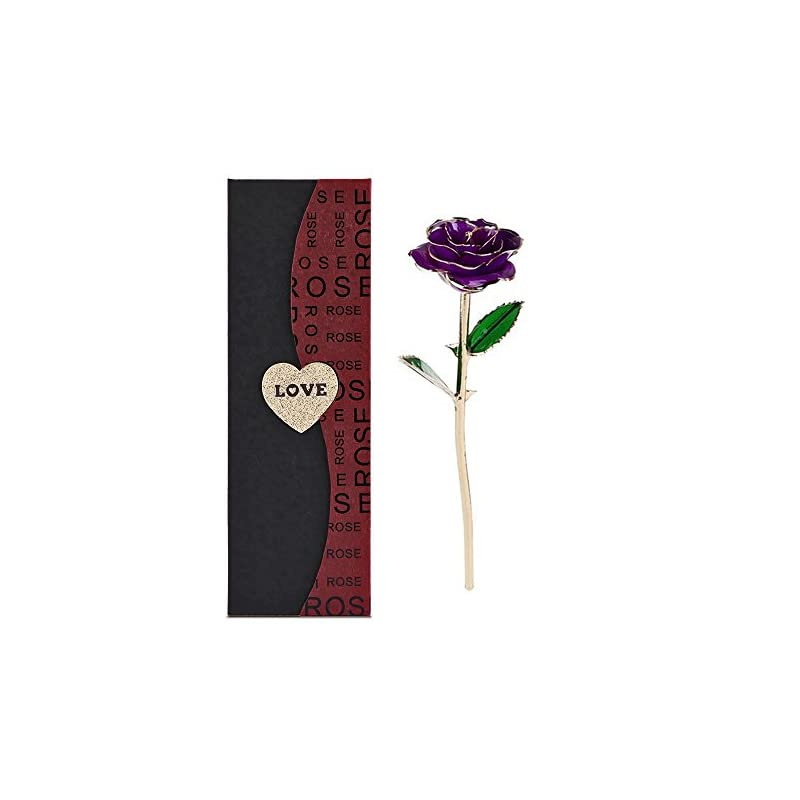 silk flower arrangements new long stem dipped 24k gold foil trim rose, best gift for valentine's day, mother's day, anniversary, birthday gift, for her