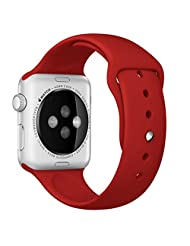 Apple Watch Band, ABC New Fashion Sports Silicone Bracelet Strap Band For Apple Watch 38mm (Red )