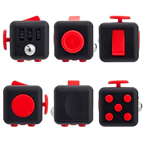 MonstGear Fidget Cube Anxiety Stress Relief Focus Gift Toy for Children and Adults-Black&Red
