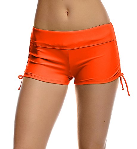 DUSISHIDAN Women's Modest Boy Cut Short Active Yoga Swim Shorts with Ajustable Ties,Orange,TAG L(US M)