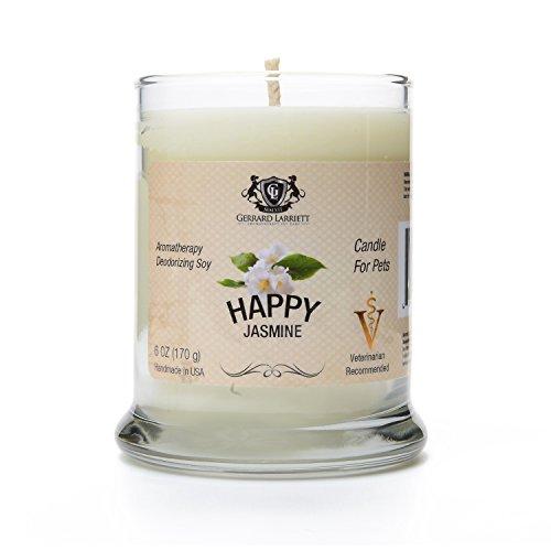 Jasmin aromathérapie désodorisant bougie de soja pour animaux de compagnie, bougies éliminateur d'odeurs parfumées, Pet & amoureux des animaux Don - 6 OZ (170 g)