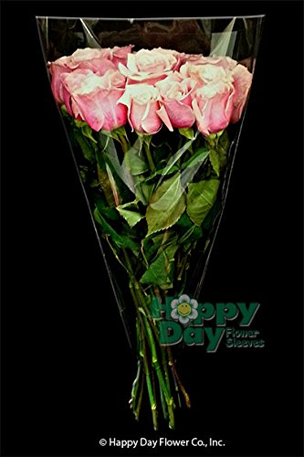 Flower Sleeve Clear 1.6 mil BOPP- Pack of 100 Sleeves Per Size (3.25'' Bottom x 18'' Height x 12'' Top-''6 Stems'')