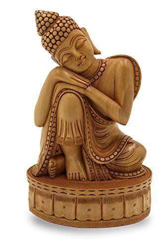 Buddha Statue resting on knees handmade in wood - Buddah Decor, Budha figurine and zen gifts ()