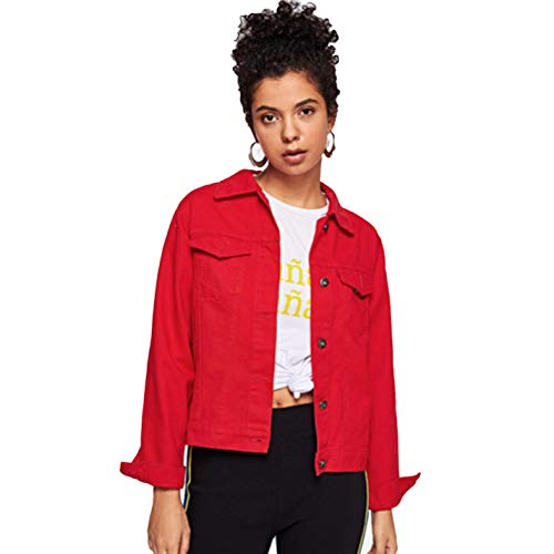 (Women's Red Pocket Solid Button Front Lapel Tabby Denim Jacket)