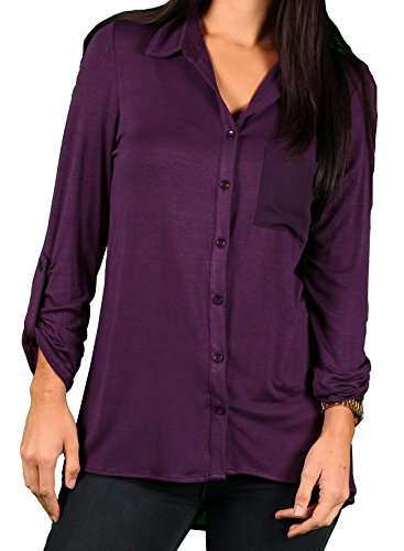 Zac & Rachel Misses Sheer Pocket Blouse, Berry Juice, for sale  Delivered anywhere in USA