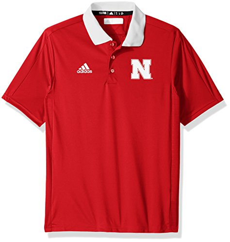 - adidas NCAA Nebraska Cornhuskers Adult Men NCAA Sideline Coaches Polo, X-Large, Power Red