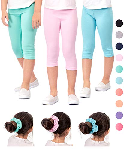 62d53e07832b6 DEAR SPARKLE Girls Capris 3 Pack Cotton Solid Colors + Matching Hair Ties |  Sizes 3-10 (6-7, SkyBlue/Pink/Mint)