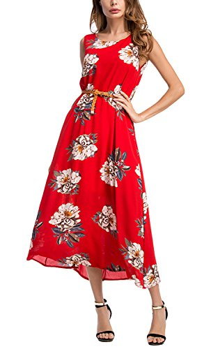 PARTY LADY Womens Summer Maxi Dress Chiffon Floral Print Beach Dresses with Belt Size L Red (Belted Straw Belt)