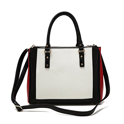 Best Two Tone Black Red White Large Vegan Faux Leather Convertible Satchel Tote Purse TravelNut Top Practical Last Minute Special Easter Basket Filler Gift Idea Her BAE Woman Young Ladies Spring (Black And White Dress Up Ideas)