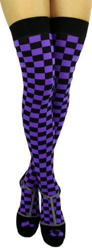 ToBeInStyle Women's Checkered Wide Elastic Band Thigh Hi Stocking - One Size - Black/Purple