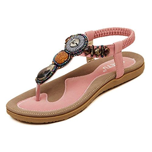 (Nevera Ladies Flip-Flops Bohemian Elastic Strappy Thong Ankle Strap Sandals for Women Pink )