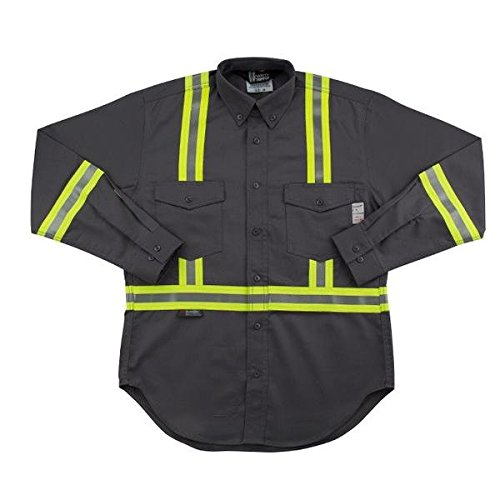 Oil and Gas Safety Supply Men's FR Reflective Button Down 5XL Gray by Oil and Gas Safety Supply