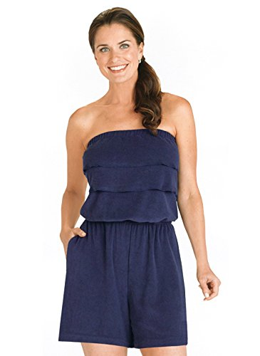Carol Wright Gifts Terry Cloth Romper | Strapless Terry Cloth Romper, Color Navy, Size Medium, Navy, Size - Ladies Cloth Terry