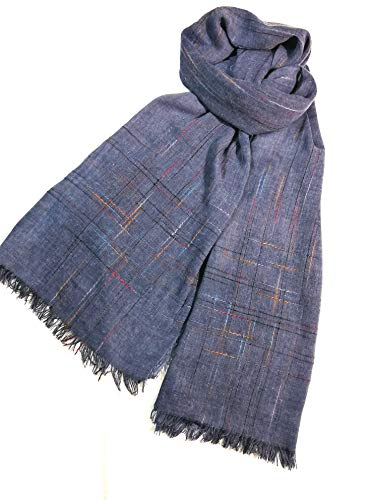(Shanlin Fine Cotton-Linen Scarves for Men (Blue-CThreads))