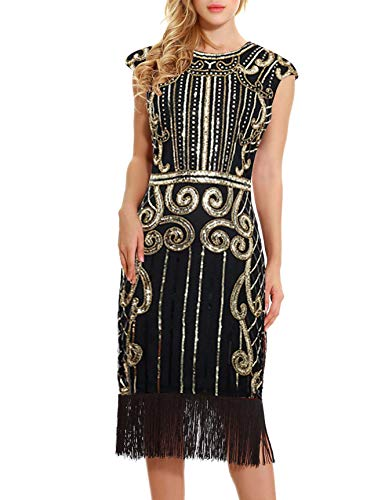 Uniq Sense 1920s Vintage Inspired Flapper Dress - Sequin Embellished Fringe Long Great Gatsby Dress (Glam Gold, S)