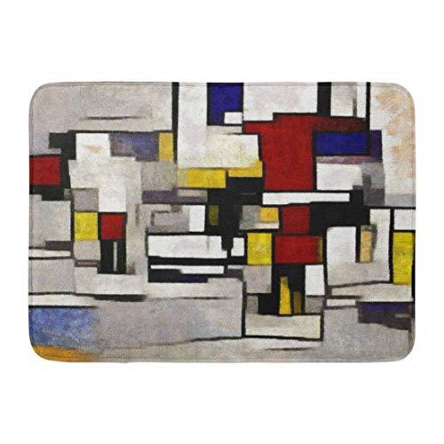 (Kuytresdf Doormats Bath Rugs Outdoor/Indoor Door Mat Primitive Cubism The Minimalist Story in Vivid Colours Modern Pop Made Oil on Canvas of Piet Mondrian Bathroom Decor Rug 16