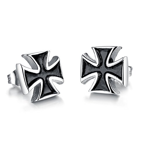 Fate Love Vintage Stainless Steel Knights Templar Cross Stud Earring (Mens Templar Knight Costume)