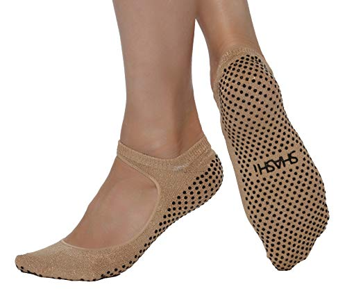 Shashi Sweet Open-Top Non-Slip Sock - 1 Pair (X-Small, Champagne Gold)