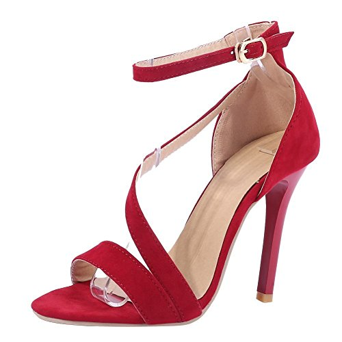 Mee Shoes Damen Stiletto Ankle Strap Knöchelriemchen Sandalen Rot