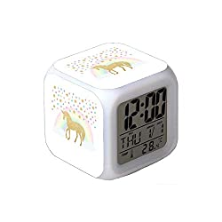 7Colors LED Changing Digital Alarm Clock Desk Thermometer Night Glowing Cube LCD Clock Home Decor Unicorn