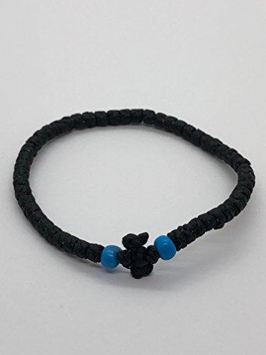 Thin Komboskini Greek Prayer Rope Bracelet (Black) ()
