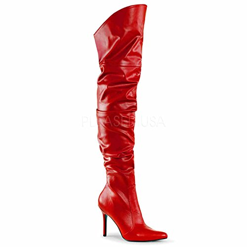 Pleas (Red Leather Thigh High Boots)
