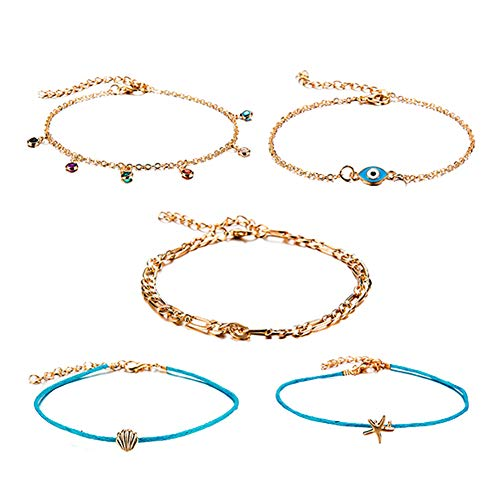 (lEIsr00y 5Pcs/Set Lady Shell Starfish Eye Charm Colorful Rhinestone Anklet Ankle Bracelet - Golden)