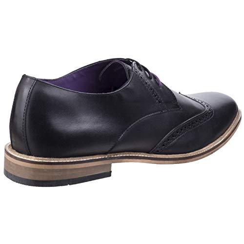 Black Lambretta Shoes Brogue Lace Franky Smart Brogue Up Mens King Oxford STSpg