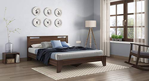 Urban Ladder Pavis King Size Engineered Wood Bed  Walnut Finish