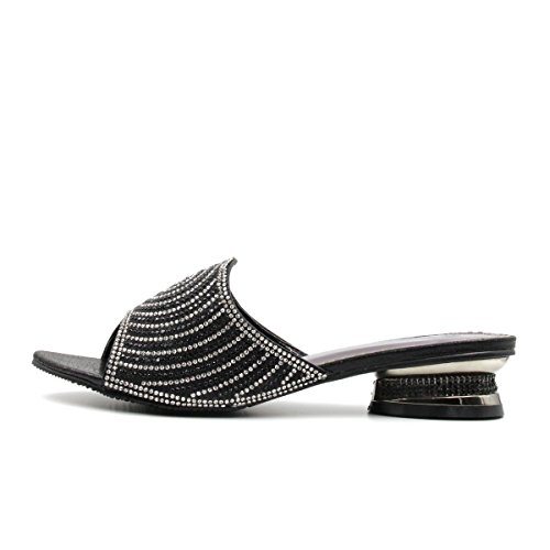 Bella Hanna Women Low Heel Fashion Rhinestones Glitter Bling Open Toe Slip On Disley (10, - Outlets Philadelphia Premium Sales