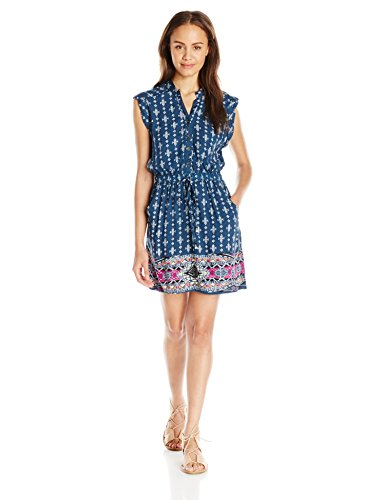 Printed Blue Womens Blue Angie Dress Drawstring Shirt vE1UF0UwZq