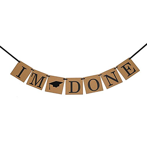 Graduation Banner - I'M DONE Banner with Graduation Cap Symbol - Graduation Party Decorations (Outside Decorating Ideas)
