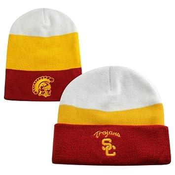 3ff65897508 USC Trojans Skuttle Knit Beanie - Cardinal Gold White  Amazon.co.uk  Sports    Outdoors