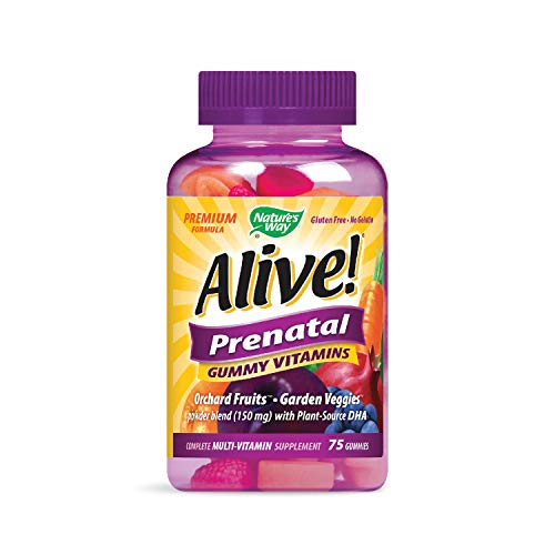 (Nature's Way Alive!® Prenatal Premium Gummy Multivitamin with DHA, Fruit and Veggie Blend (150mg per serving), Full B Vitamin Complex, Gluten Free, Made with Pectin, 75 Gummies)