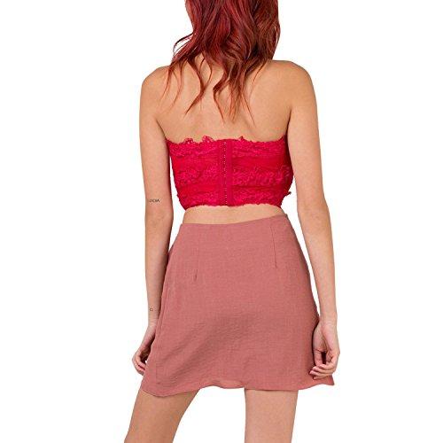 100 Startreene Courte Haute Irrgulire Couleur Ourlet Coton Unie Jupe Femme Taille Rose Chic qprwpt