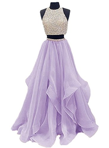 VinBridal 2018 Two Piece Beaded Floor Length Organza Evening Gown Prom Dresses Lavender 8