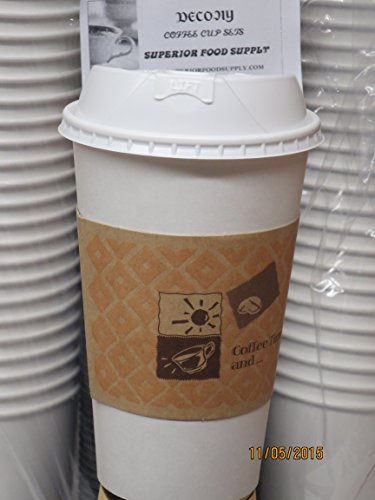 Travel Coffee Cup - 16 Oz. White Paper Coffee Cup with White Reclosable Dome Lid and Sleeve - 50/sets