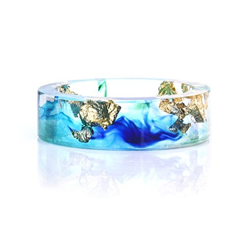 Price comparison product image DALARAN OceanTransparent Plastic Resin Band with Foil Blue Ink Size 11