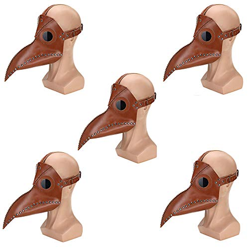 CLDGF Punk Horror Mask, Bird Face, Pu Leather, Role Playing, Long Nose, Plague Doctor, Halloween Party Costume (29Cmx 25Cm),5PACK