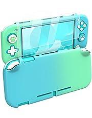 MoKo Skyddsfodral kompatibelt med Switch Lite PC skyddsfodral med 4 tumgreppsskydd och 2 HD-klart härdat glas skärmskydd, stötdämpande anti-repor halkfritt fodral blå + grön