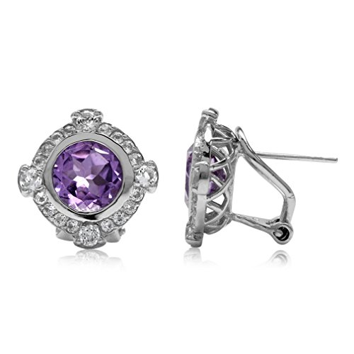 (3.4ct. Natural Round Shape Amethyst Gold Plated 925 Sterling Silver Omega Clip Post)