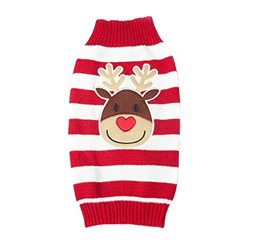 Xmas Reindeer Design Lovely Puppy Pet Cat Dog Sweater Knitted Coat Apparel Clothes (M)